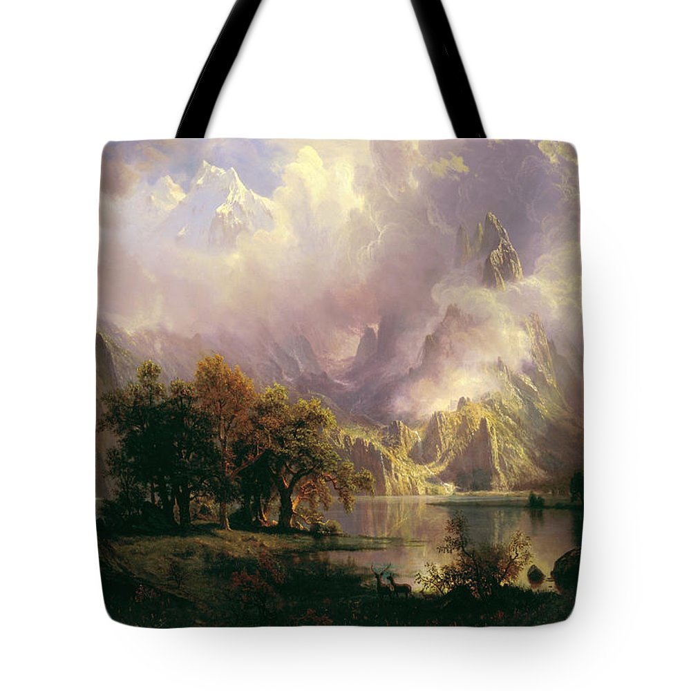 Albert Bierstadt Tote Bag featuring the painting Rocky Mountain Landscape by Celestial Images