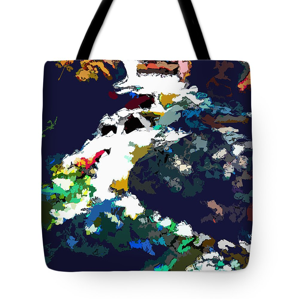 Stream Tote Bag featuring the digital art Rocky Mountain Stream by John Lautermilch