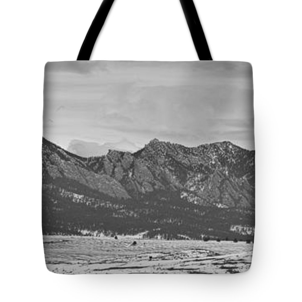 Rocky Mountains Tote Bag featuring the photograph Rocky Mountains Flatirons And Longs Peak Panorama Boulder by James BO Insogna
