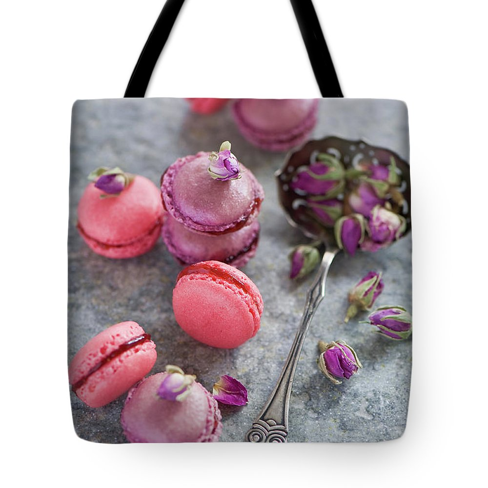 Stuffed Tote Bag featuring the photograph Rose Macarons by Verdina Anna