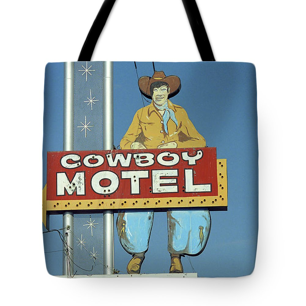 66 Tote Bag featuring the photograph Route 66 - Cowboy Motel by Frank Romeo