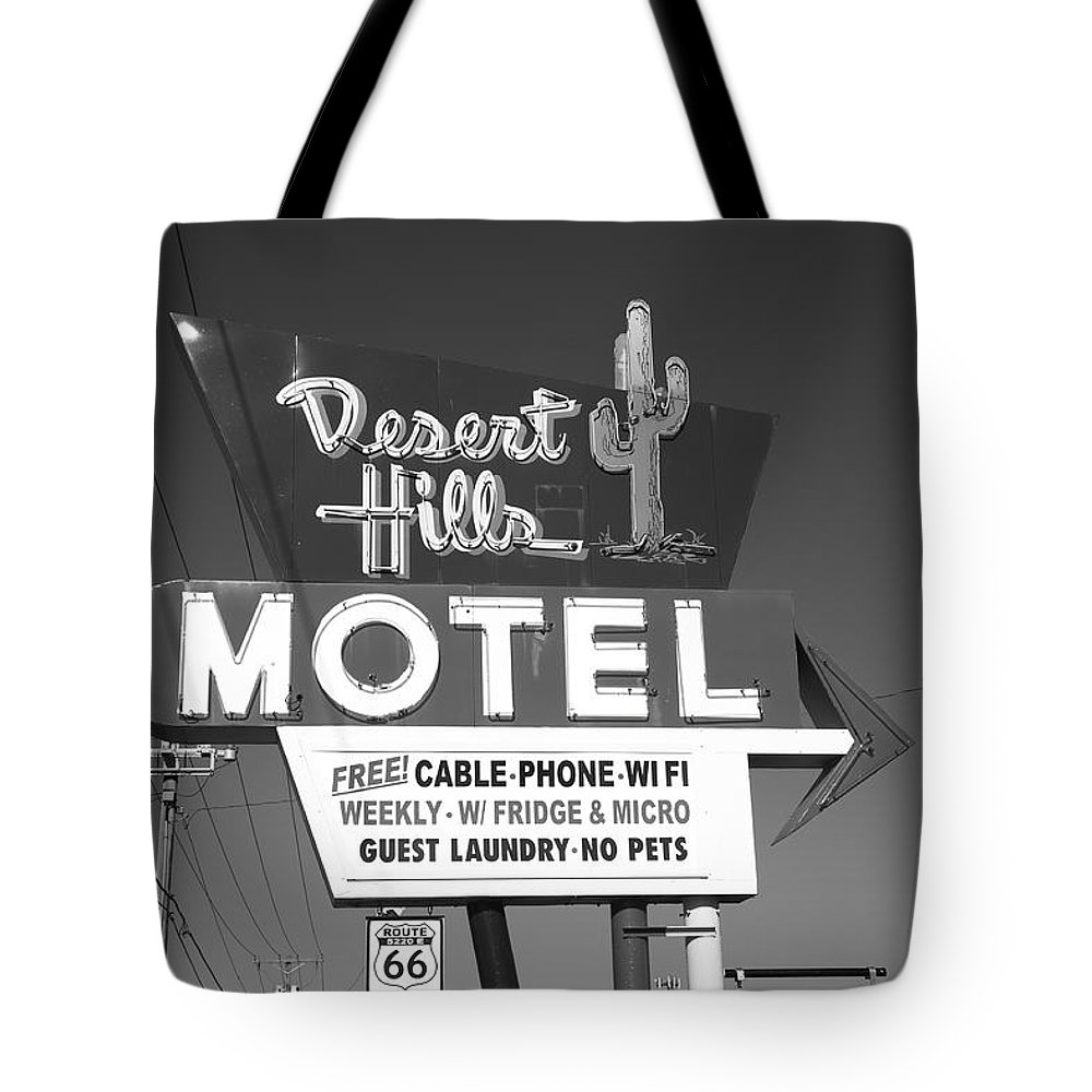 66 Tote Bag featuring the photograph Route 66 - Desert Hills Motel by Frank Romeo