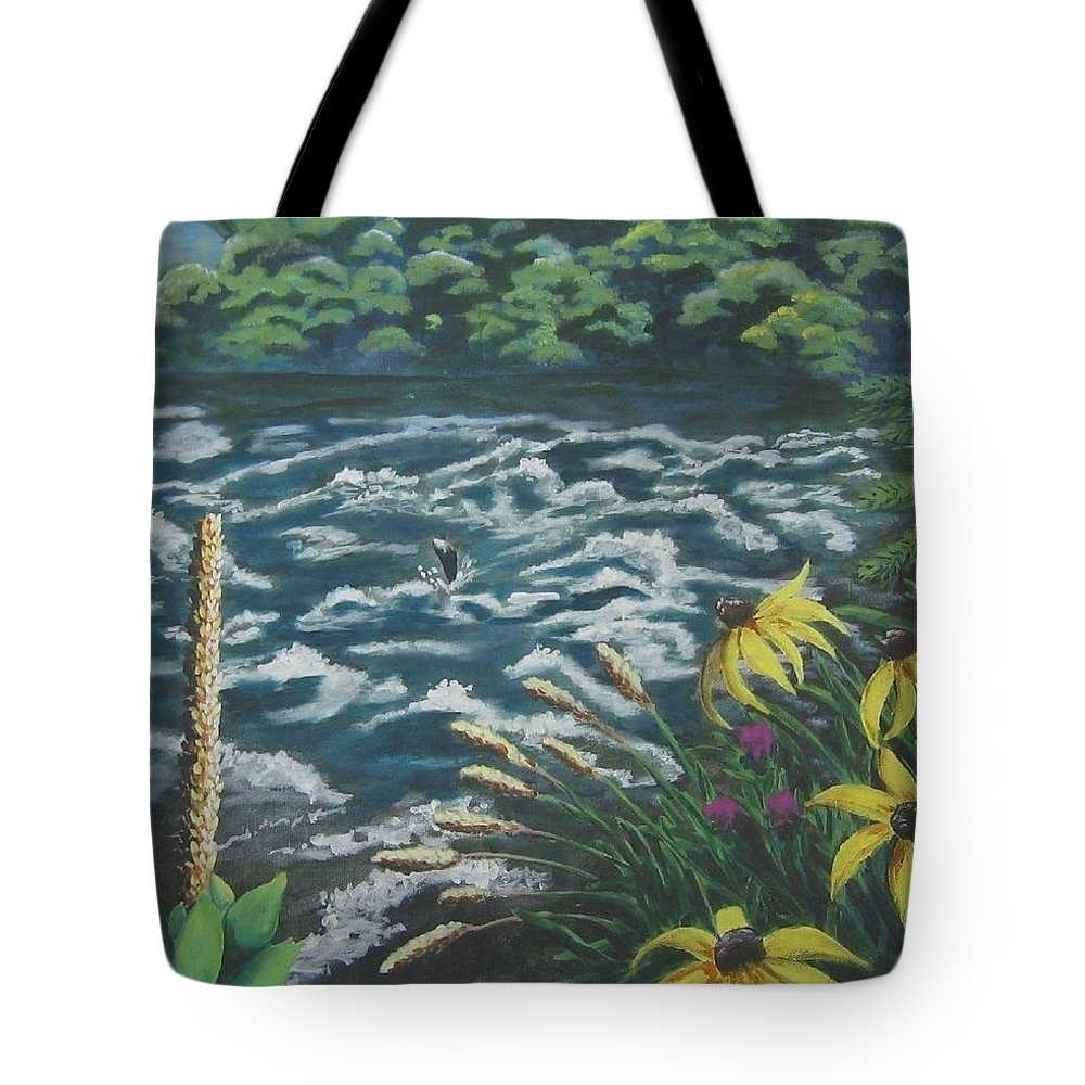 Landscape Tote Bag featuring the painting Rushing Water by Suzanne Theis