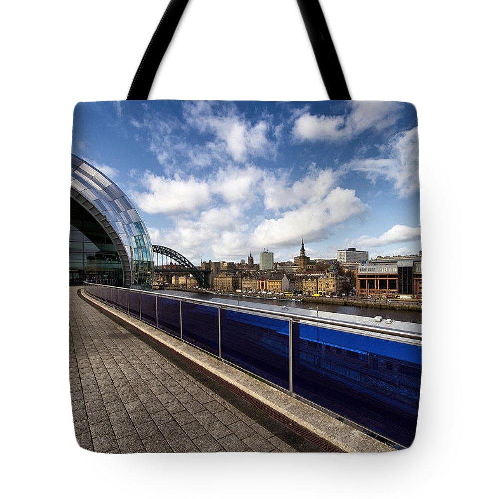 Sage Tote Bag featuring the photograph Sage Gateshead And Newcastle Skyline by David Pringle
