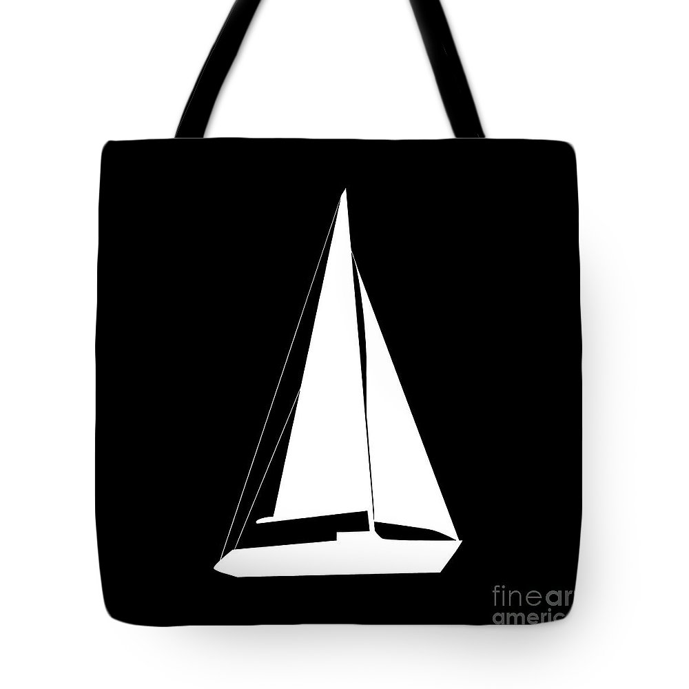 Graphic Art Tote Bag featuring the digital art Sailboat In Black And White by Jackie Farnsworth