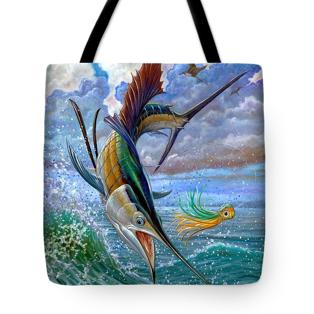 Sailfish Tote Bag featuring the painting Sailfish And Lure by Terry Fox