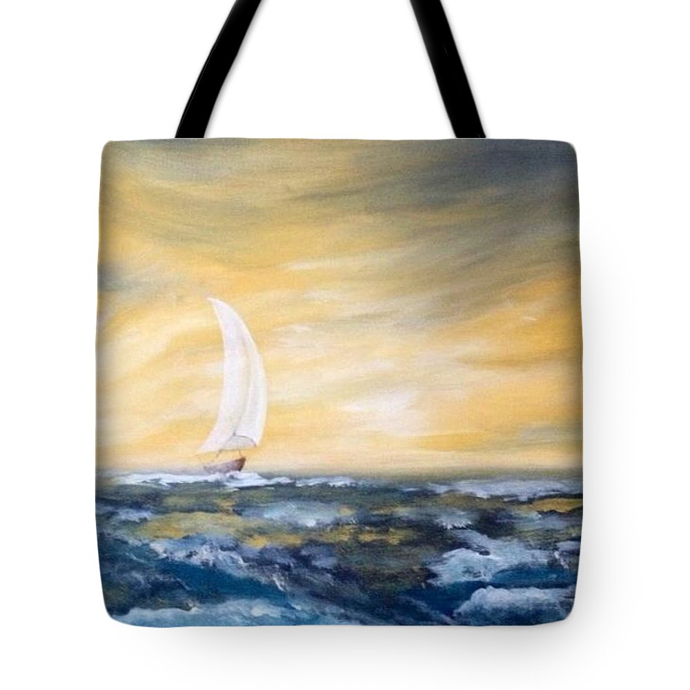 Sailboat Tote Bag featuring the painting Sails At Sunset by Laura R OKelly