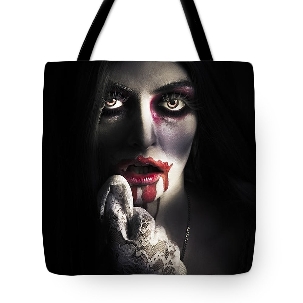 Horror Tote Bag featuring the photograph Scary Vampire Woman. Bloody Halloween Horror by Jorgo Photography - Wall Art Gallery