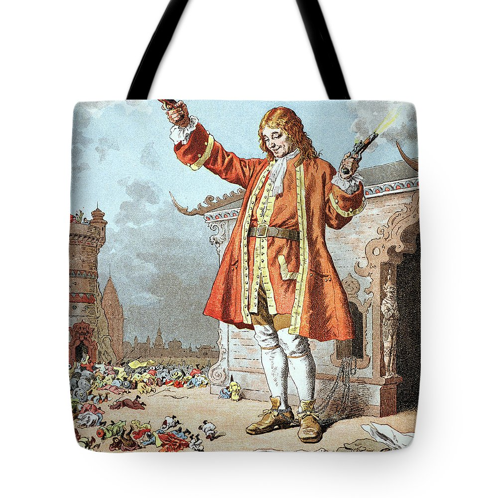 'gulliver's Travels' Tote Bag featuring the painting Scene From Gullivers Travels 1 by Frederic Lix