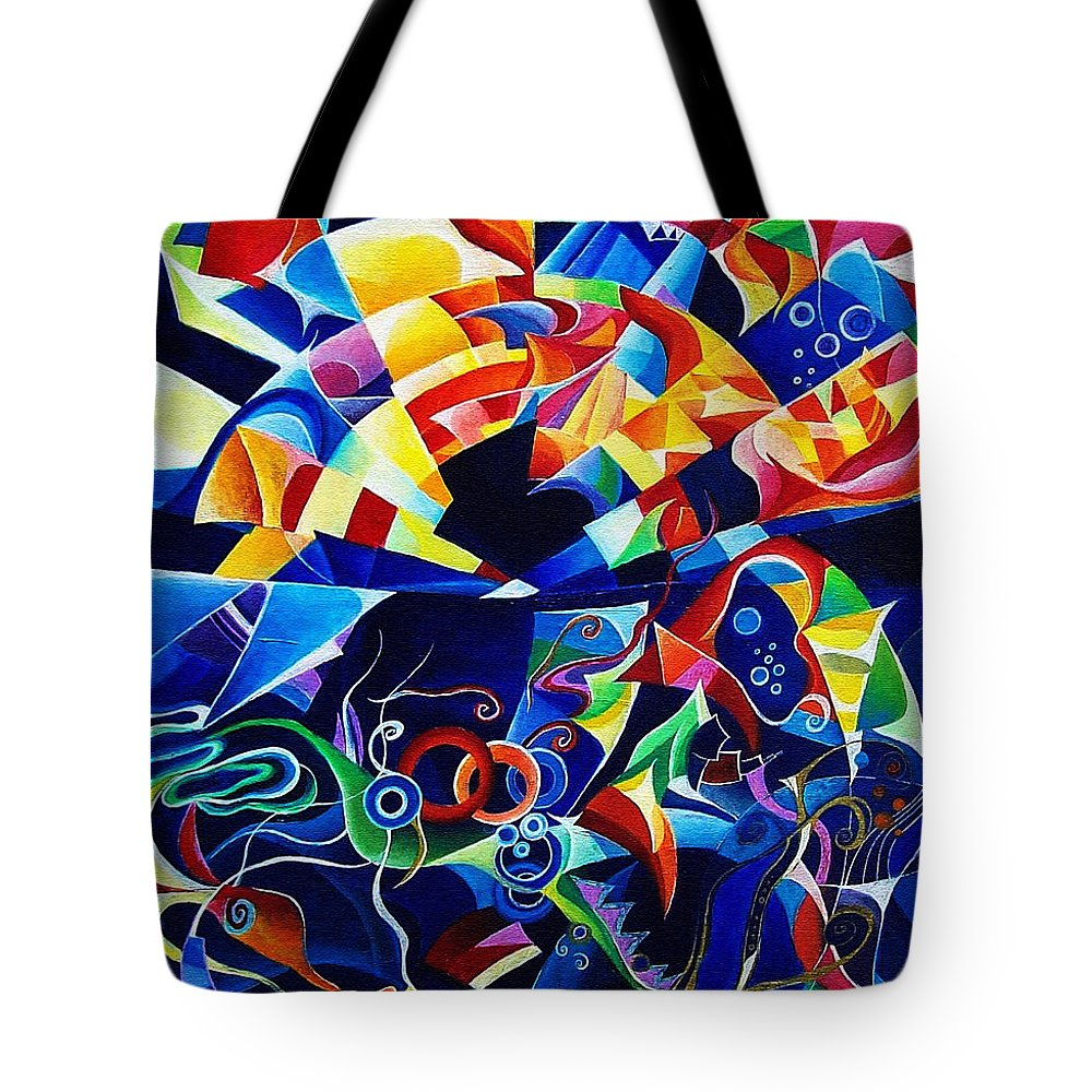 Alexander Scriabin Piano Sonata No.10 Acrylic Abstract Music Tote Bag featuring the painting Scriabin by Wolfgang Schweizer