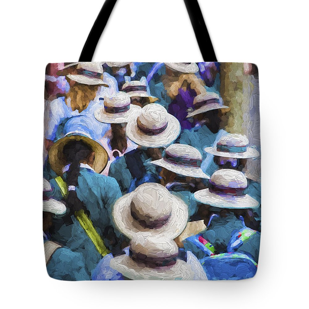 Sea Of Hats Tote Bag featuring the photograph Sea of Hats by Sheila Smart Fine Art Photography