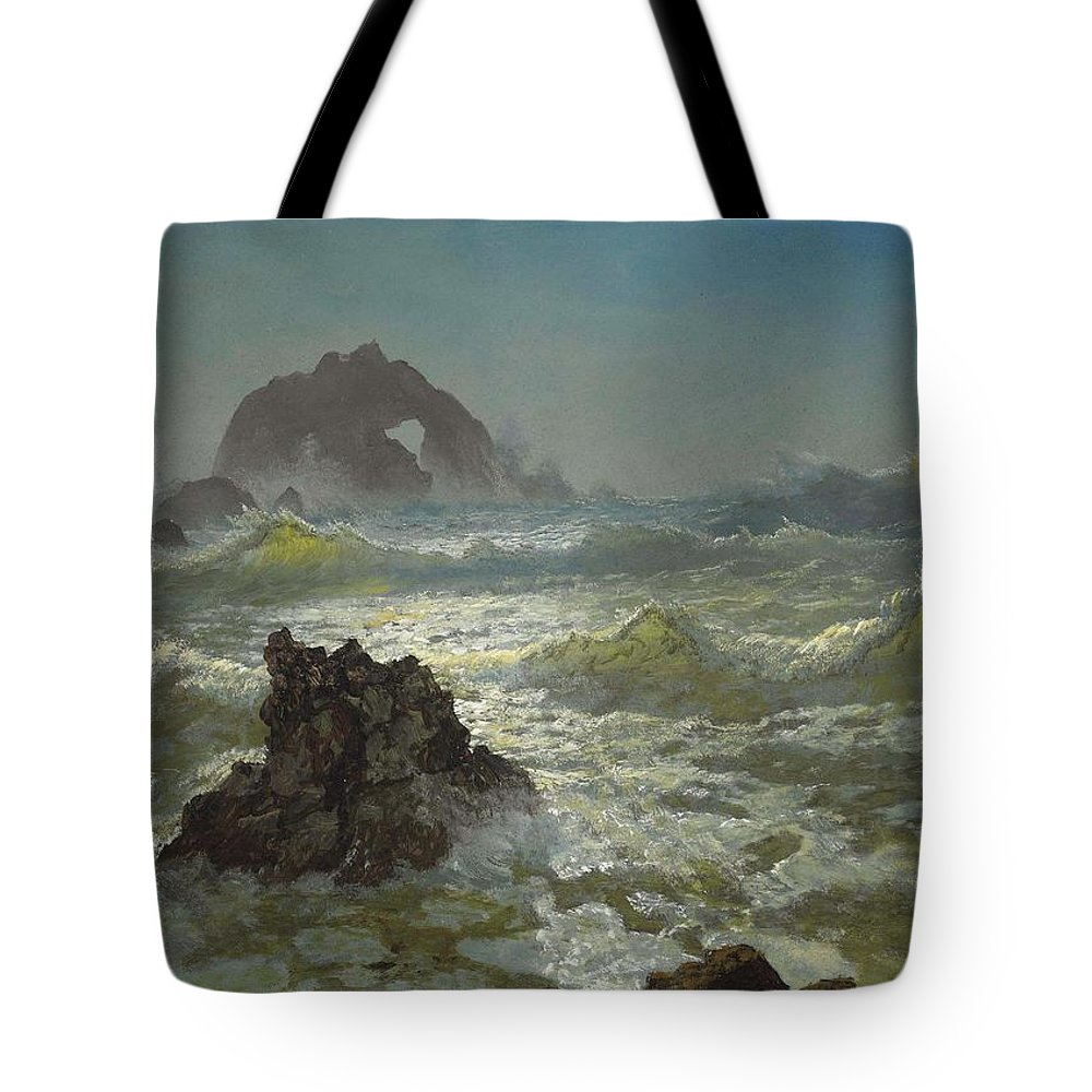 Albert Bierstadt Tote Bag featuring the painting Seal Rock California by Celestial Images