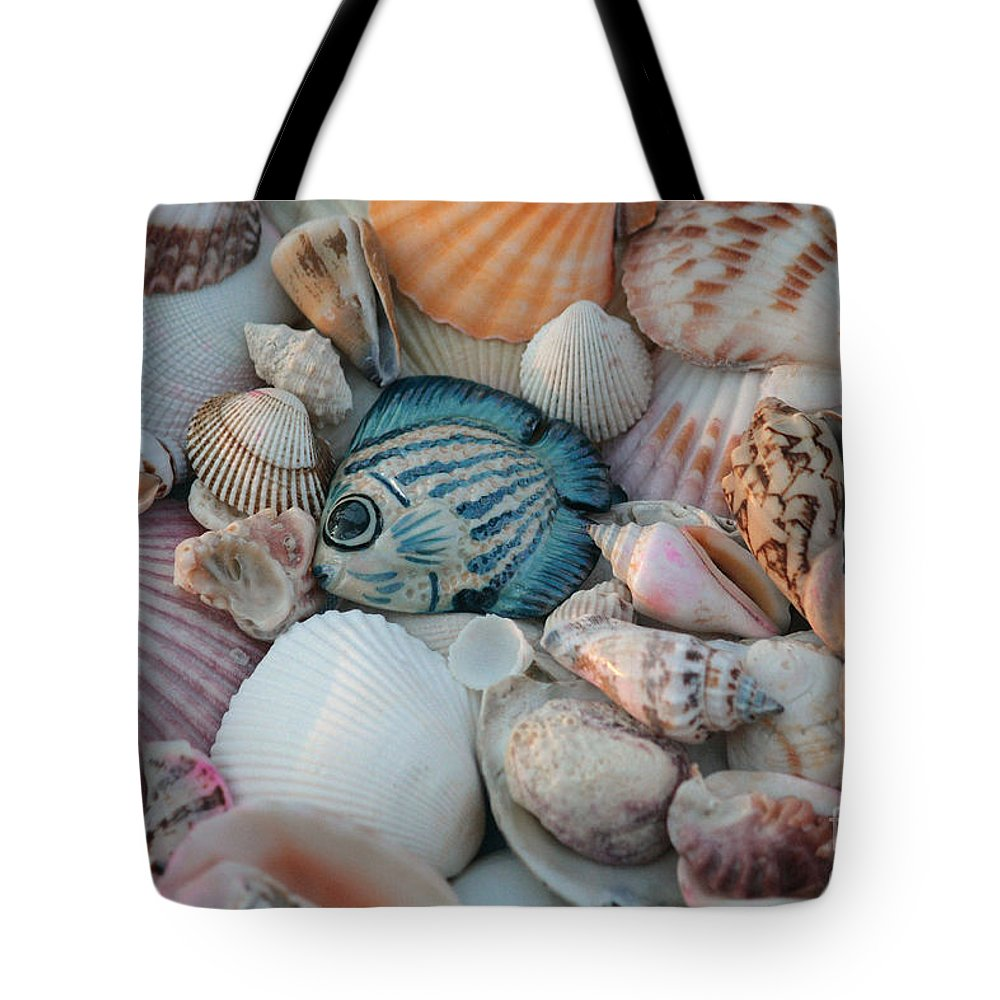 Seashells Tote Bag featuring the photograph Seashells And Blue Fish by Luv Photography