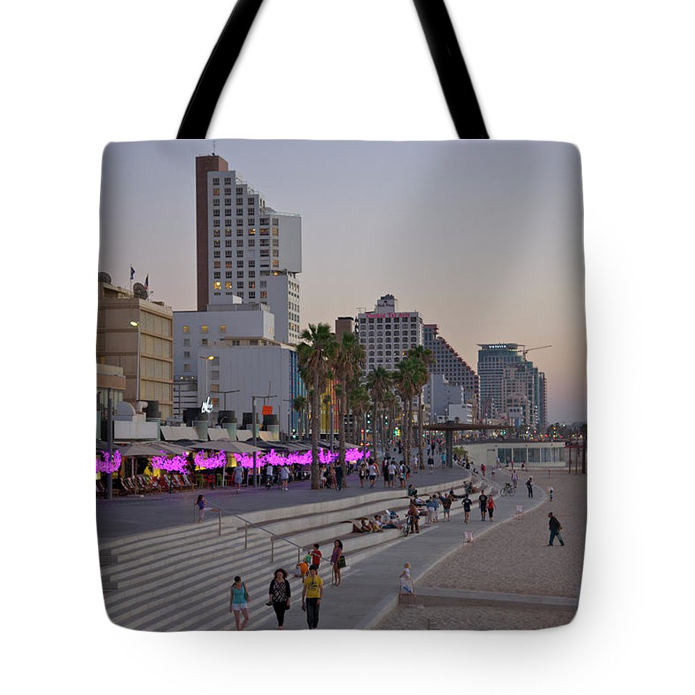 People Tote Bag featuring the photograph Seaside Promenade Of Tel Aviv At Dusk by Barry Winiker