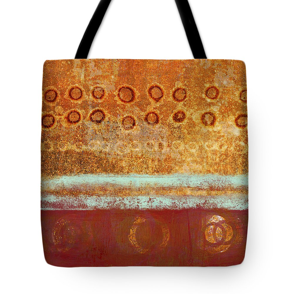 Monoprint Tote Bag featuring the mixed media Seasonal Shift by Carol Leigh
