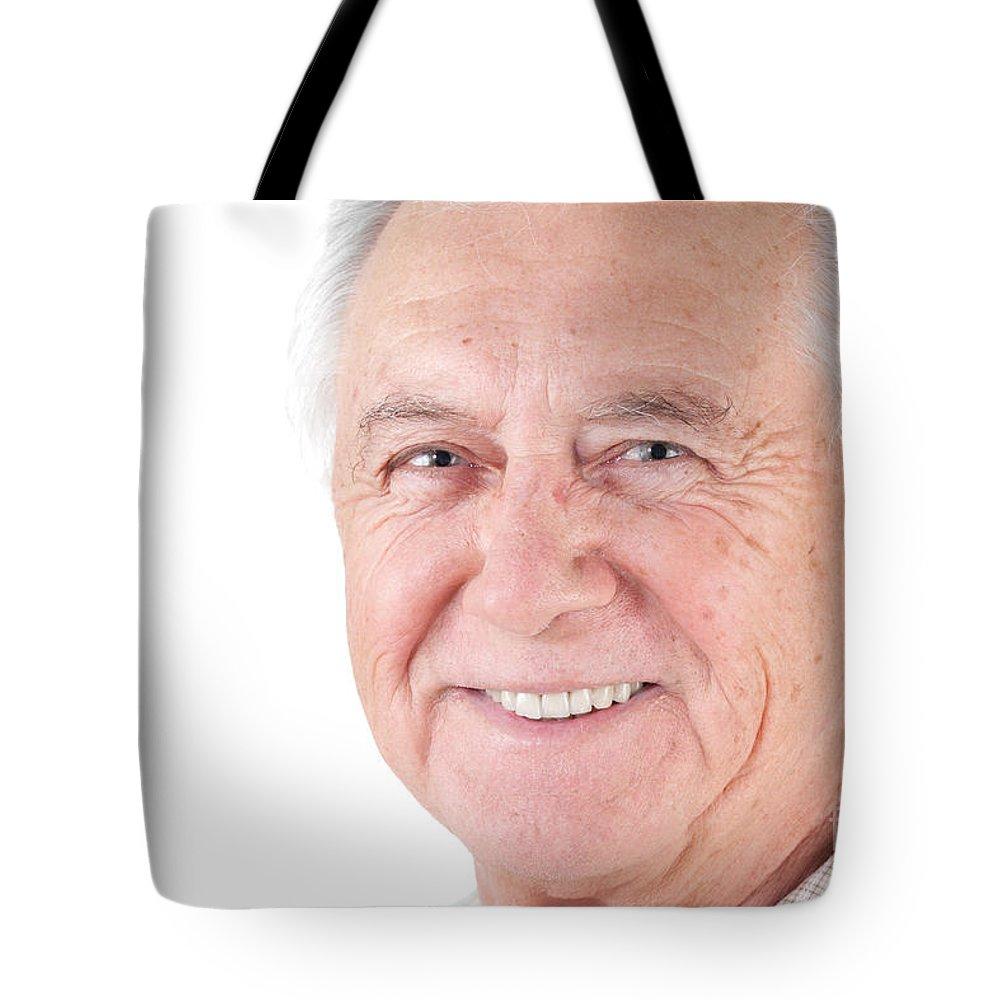 Adult Tote Bag featuring the photograph Senior Citizen Man by Gunter Nezhoda