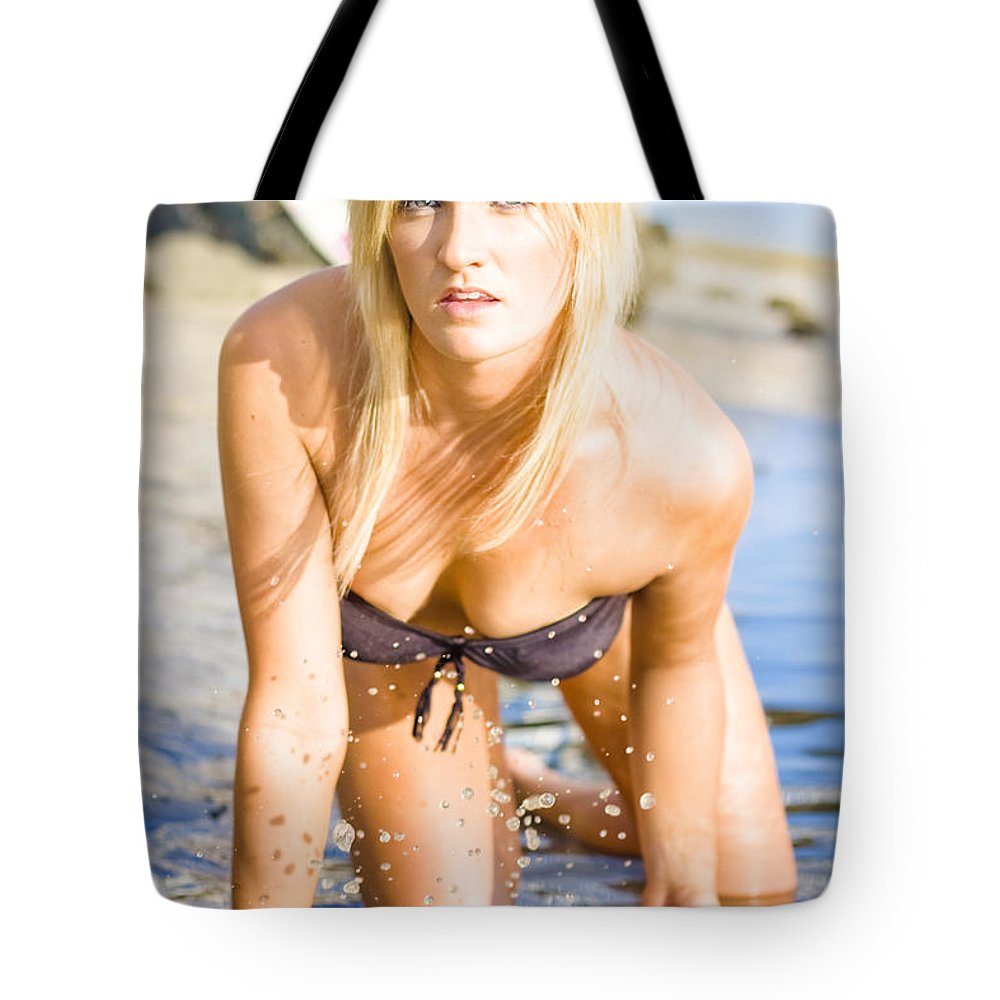 Adults Only Tote Bag featuring the photograph Sensuous Woman Playing With Water by Jorgo Photography - Wall Art Gallery