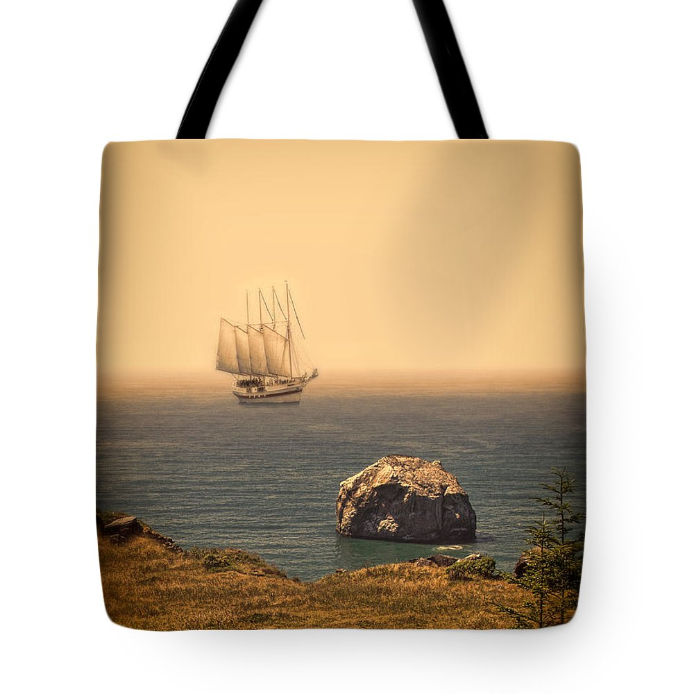 Ship Tote Bag featuring the photograph Ship Off The Coast by Jill Battaglia