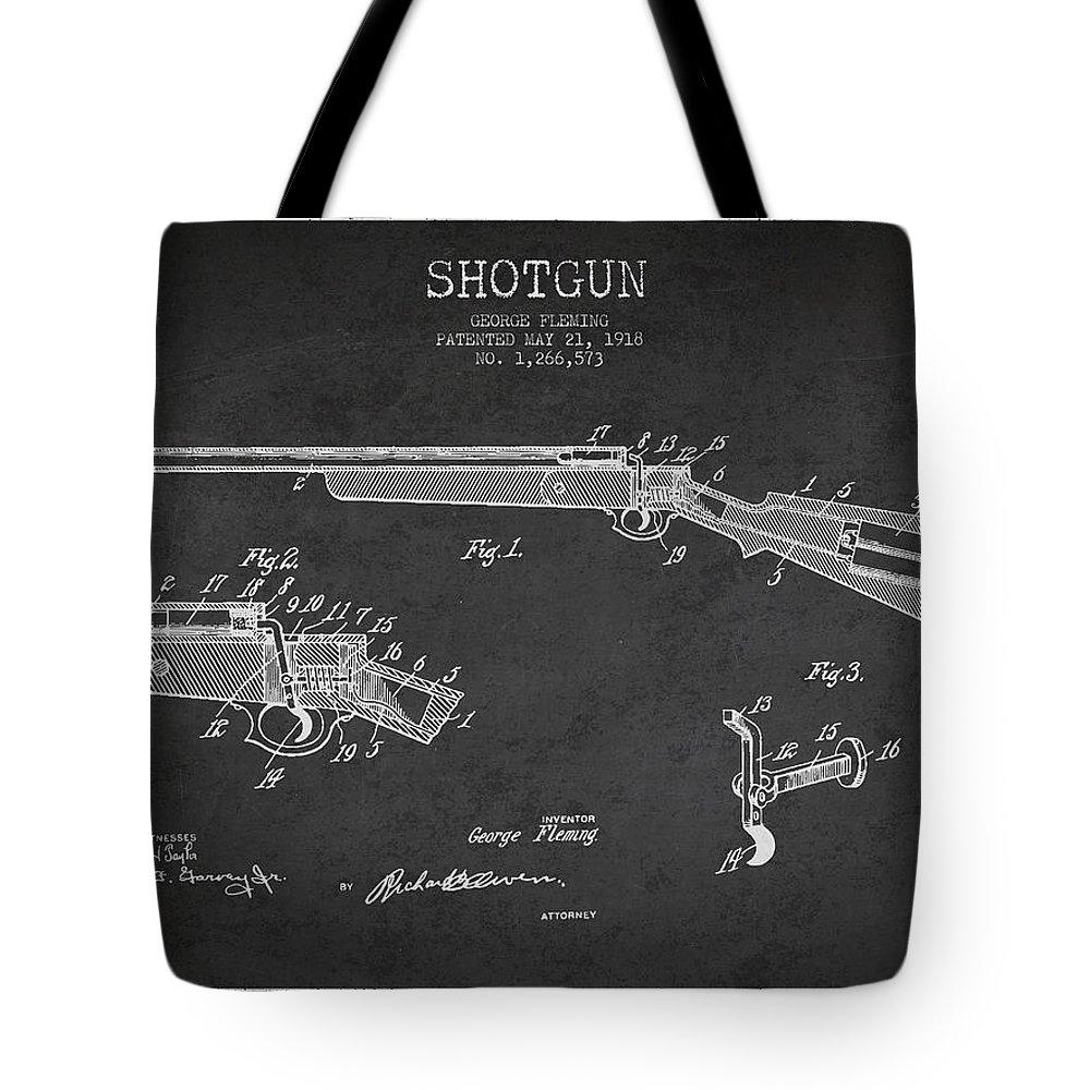 Shotgun Tote Bag featuring the digital art Shotgun Patent Drawing From 1918 by Aged Pixel