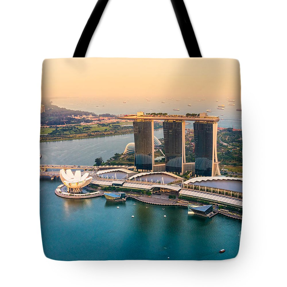 Night Tote Bag featuring the photograph Singapore by Luciano Mortula