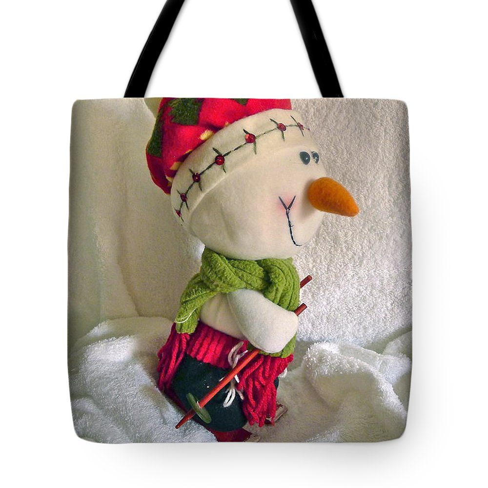 Snowman Tote Bag featuring the photograph Skiing Snowman by Denise Mazzocco