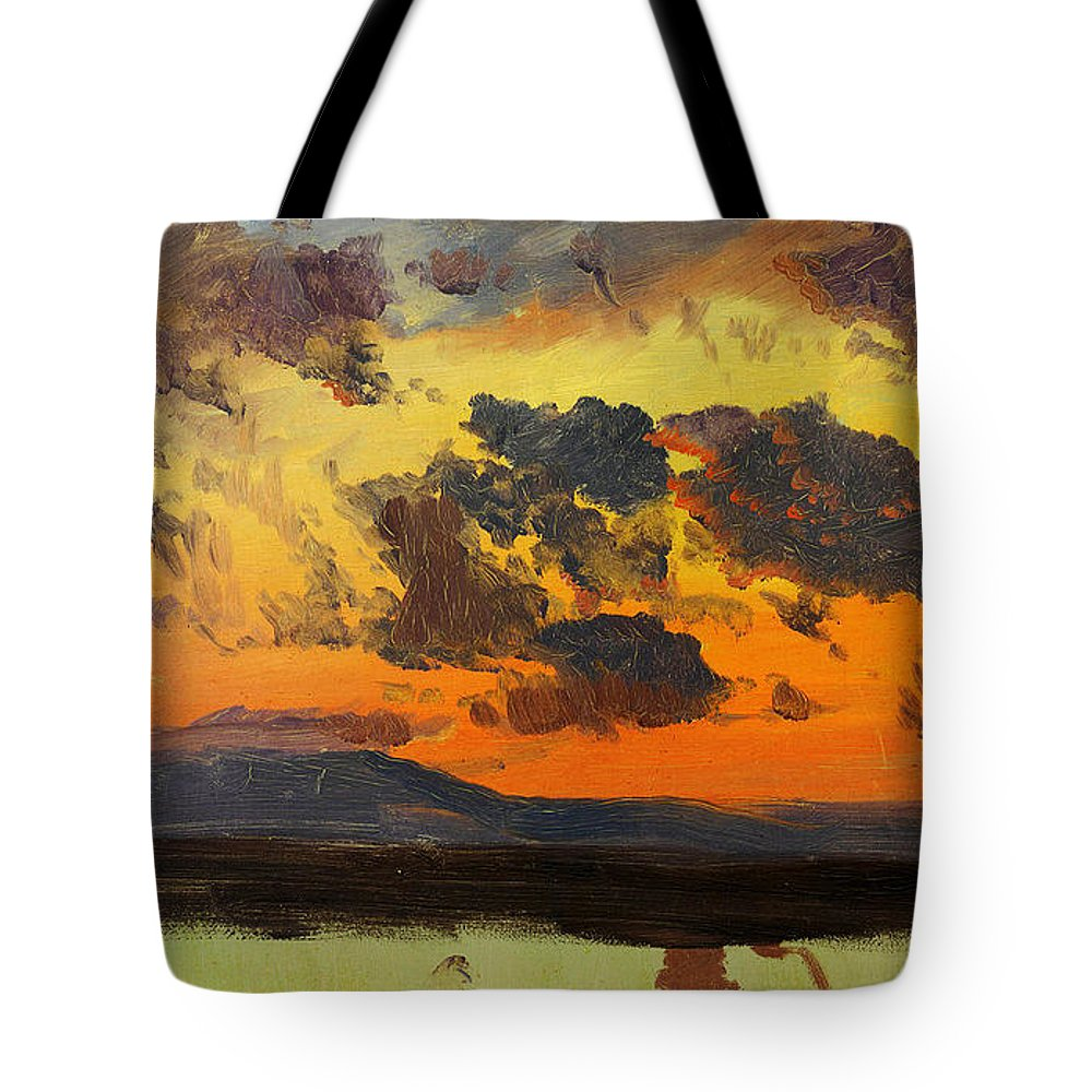 Frederic Edwin Church Tote Bag featuring the painting Sky At Sunset Jamaica West Indies by Celestial Images