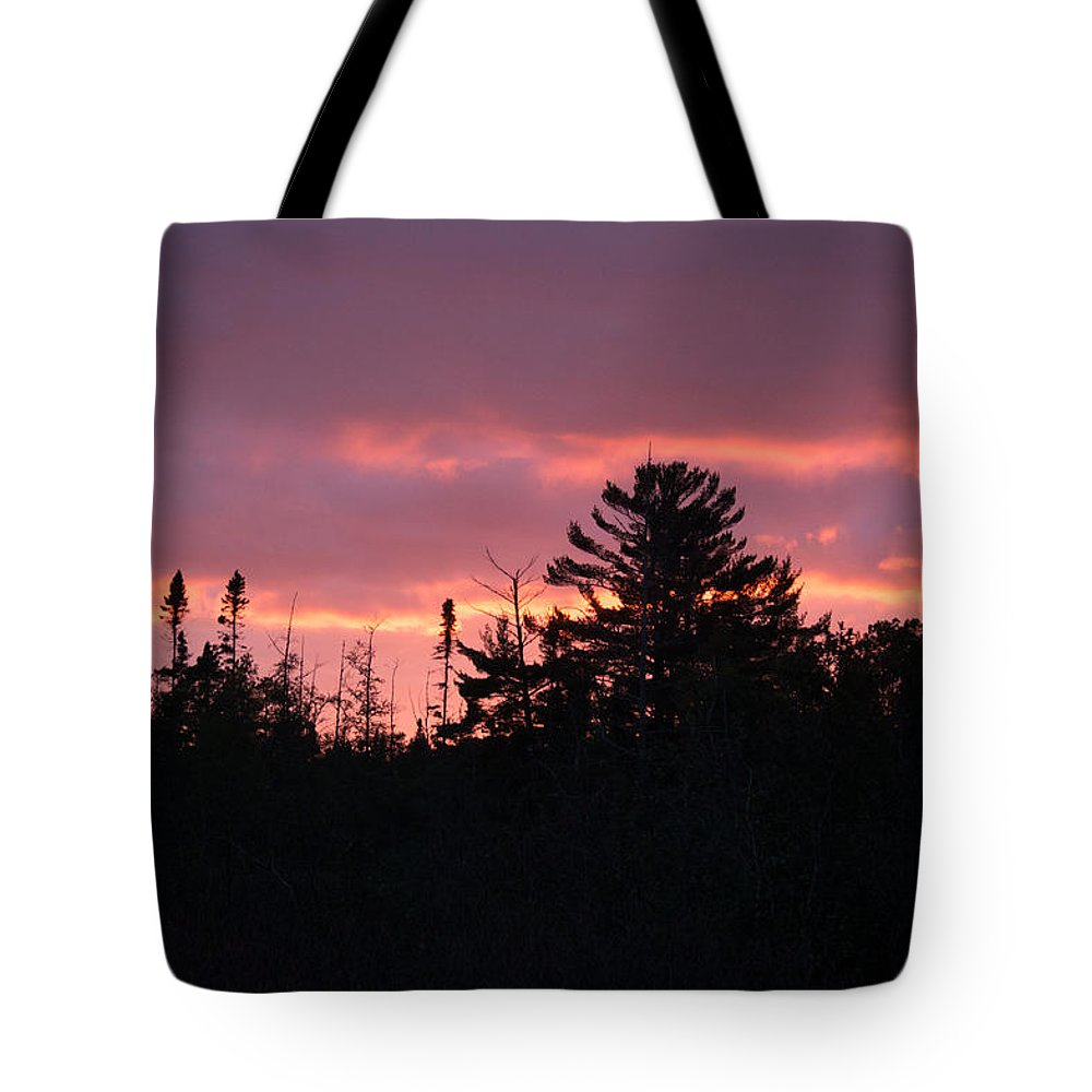 Sunset Tote Bag featuring the photograph Sky Fire by Linda Kerkau