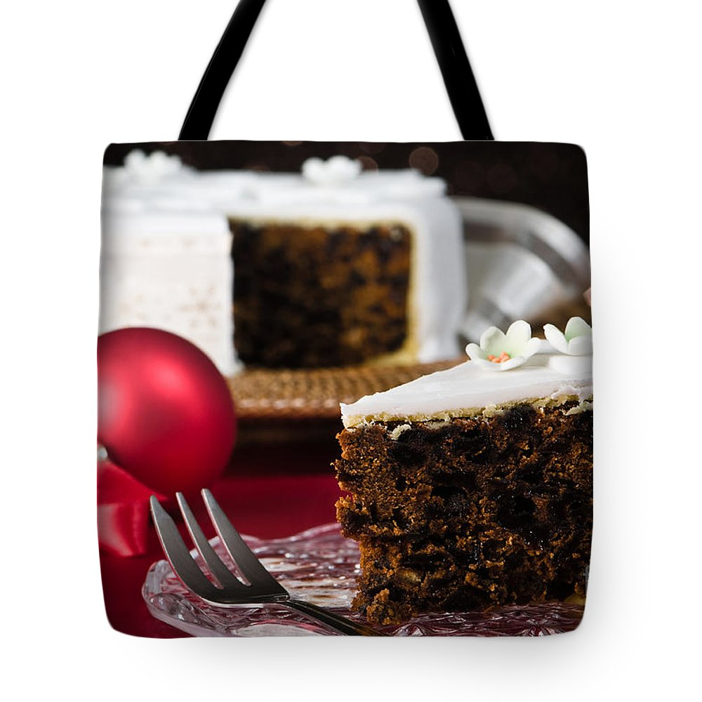 Christmas Tote Bag featuring the photograph Slice Of Christmas Cake by Amanda Elwell