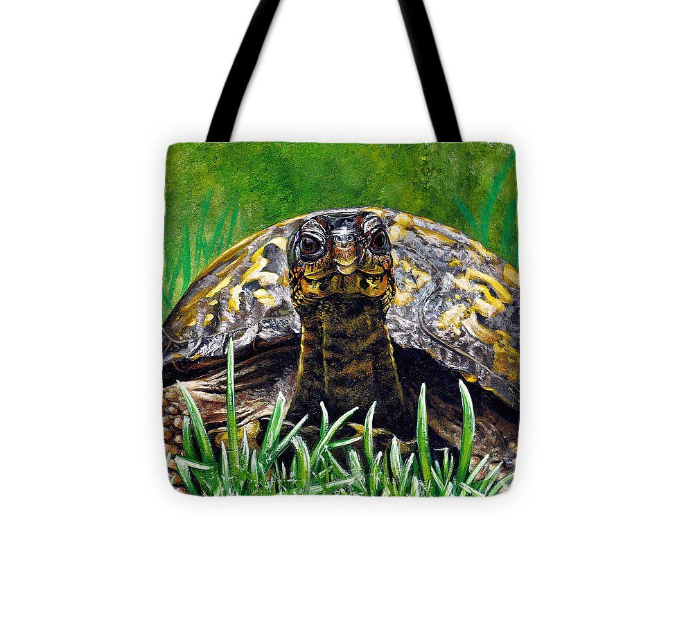 Turtle Tote Bag featuring the painting Smile by Cara Bevan