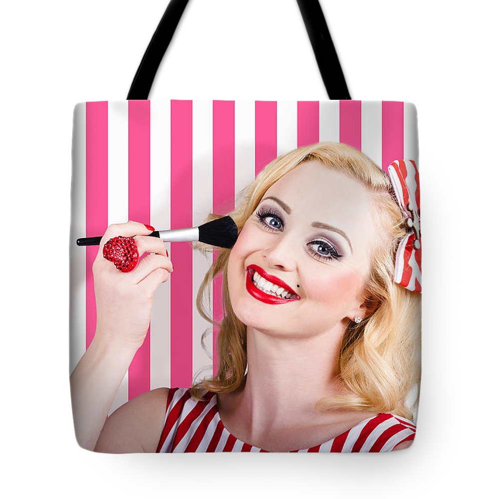 Makeup Tote Bag featuring the photograph Smiling Makeup Girl Using Cosmetic Powder Brush by Jorgo Photography - Wall Art Gallery