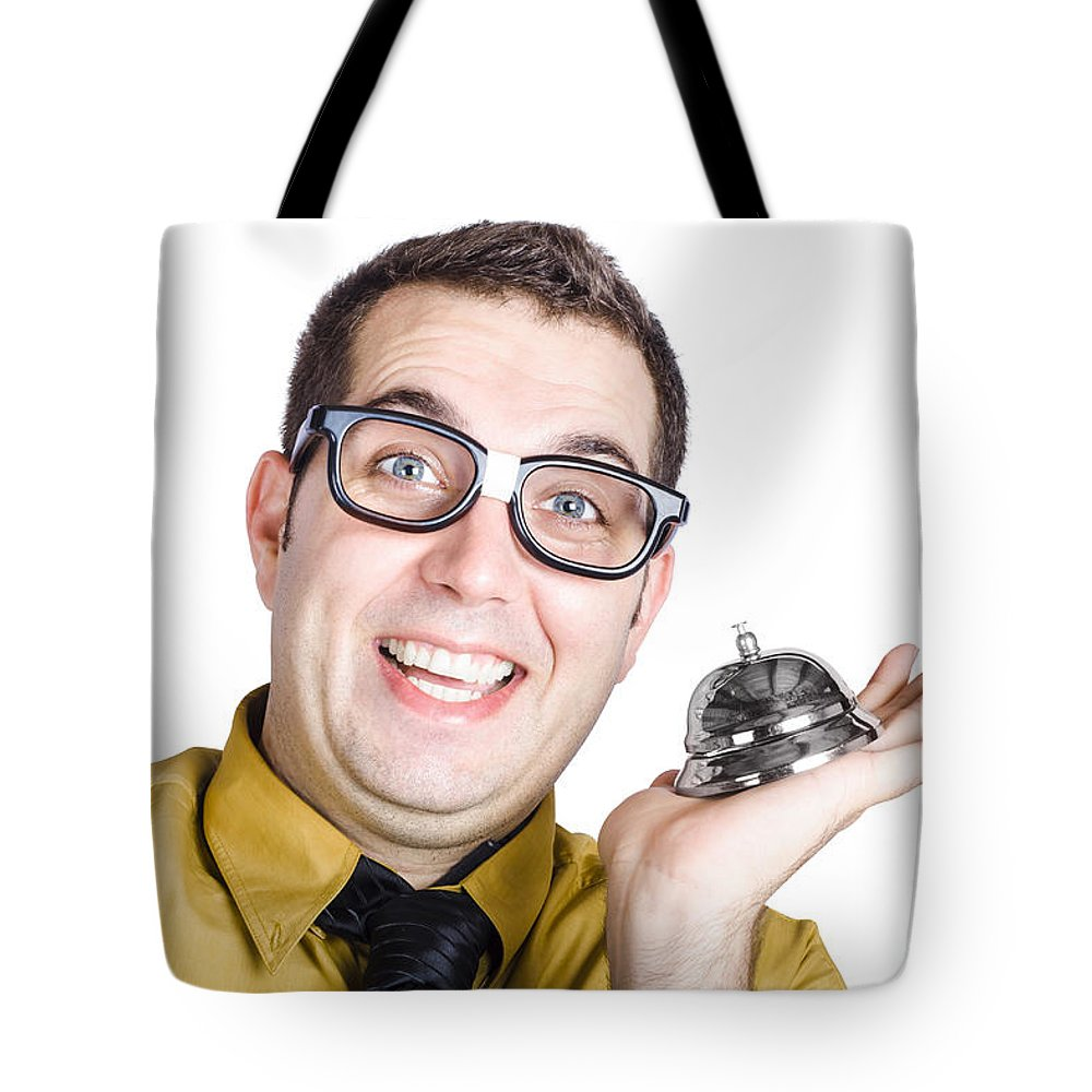 Adult Tote Bag featuring the photograph Smiling Man With Bell by Jorgo Photography - Wall Art Gallery