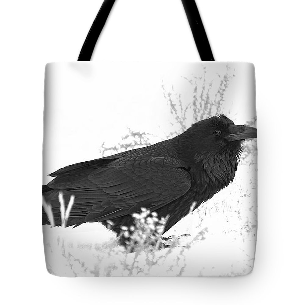 Raven Tote Bag featuring the photograph Snow Raven by Britt Runyon