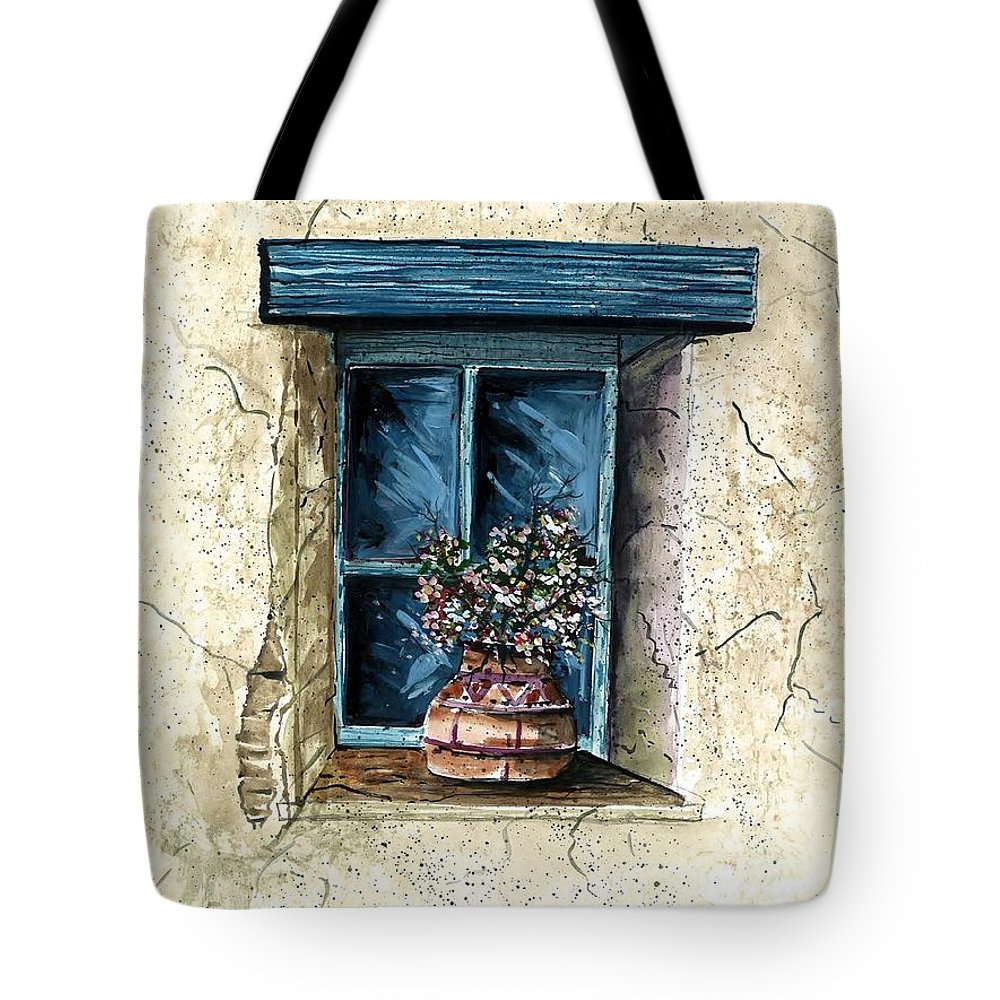 Flowers Tote Bag featuring the painting Southwest Window Sill by Steven Schultz