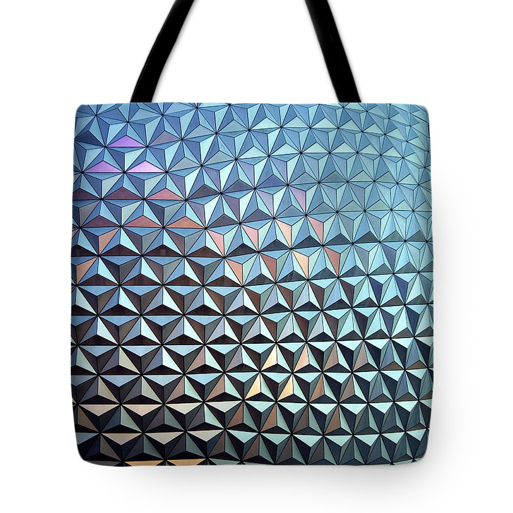 Epcot Tote Bag featuring the photograph Spaceship Earth by Cora Wandel