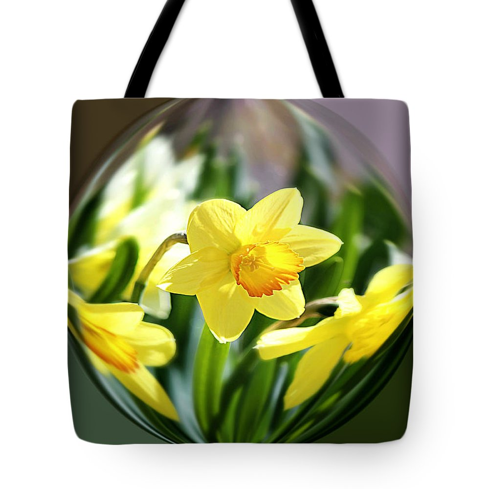 Daffodil Tote Bag featuring the photograph Spring Daffodils  by Tina LeCour