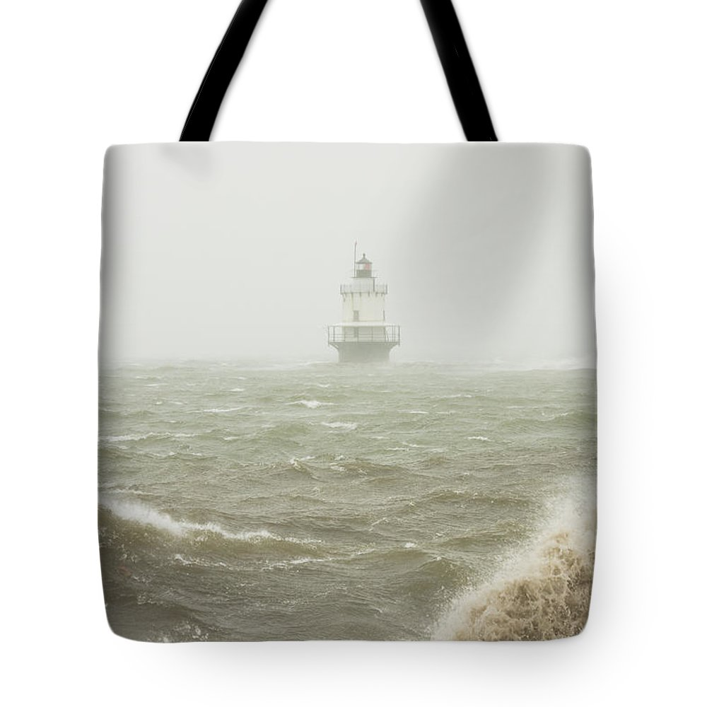 Maine Lighthouses Tote Bag featuring the photograph Spring Point Ledge Lighthouse In Storm In Portland Maine by Keith Webber Jr