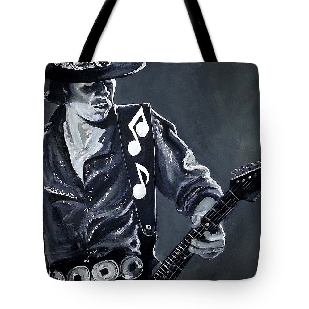 Stevie Ray Vaughan Tote Bag featuring the painting Stevie Ray Vaughan by Tom Carlton