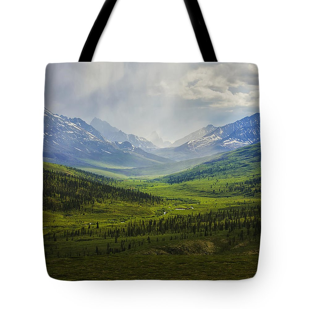 Cloud Tote Bag featuring the photograph Storm Clouds Over The Klondike Valley by Robert Postma