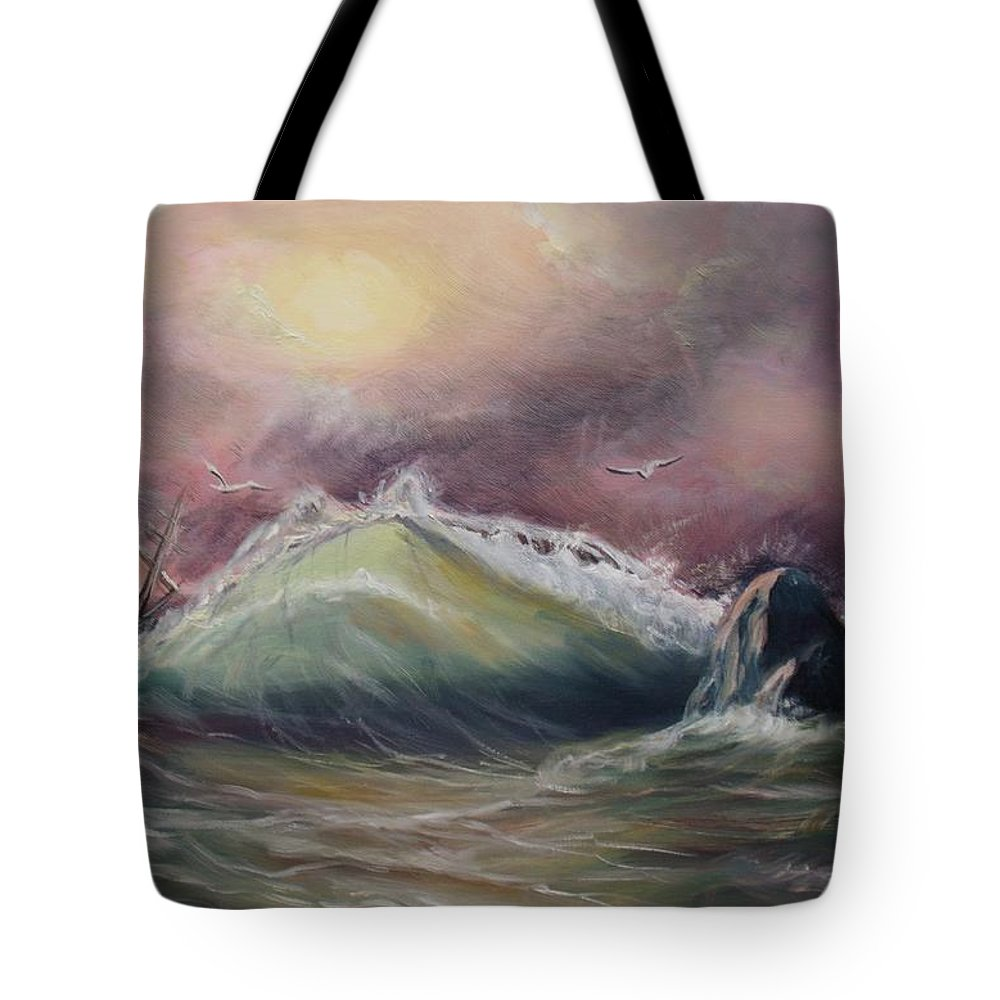 Seascape Tote Bag featuring the painting Stormy Sea by Elena Sokolova