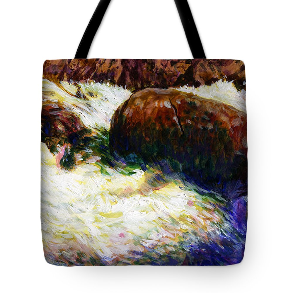 Mountain Stream Tote Bag featuring the painting Stream Somewhere in the Rockies by John Lautermilch