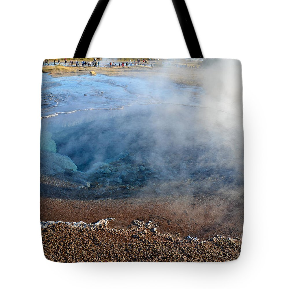 Physical Geography Tote Bag featuring the digital art Strokkur Icelandic Geysers by Eva Kaufman