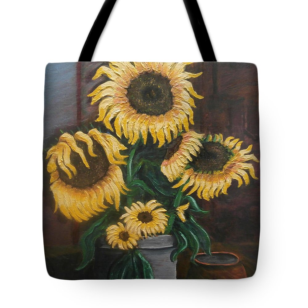 Impressionist Painting Tote Bag featuring the painting Sunflowers by Frank Morrison