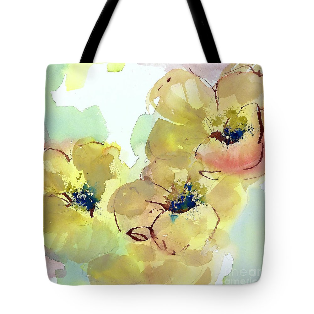 Mixed Media Paintings Tote Bag featuring the painting Sunlit Poppies I by Chris Paschke