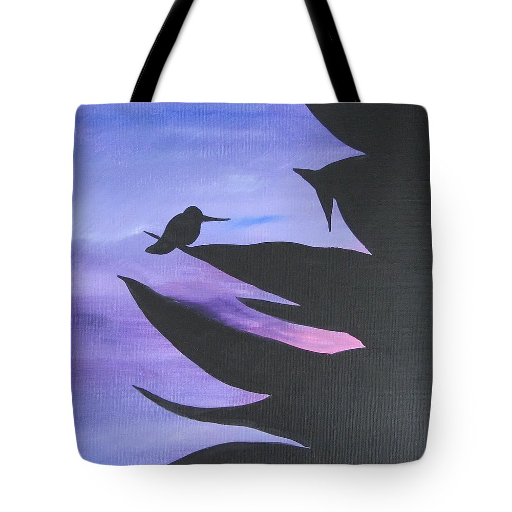Purple Tote Bag featuring the painting Sunset Arrives by Deborah Schuster
