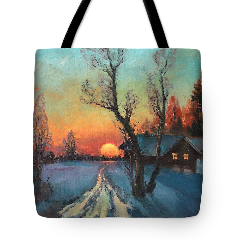 Yuletide Tote Bag featuring the painting Sunset by Mark KREMER