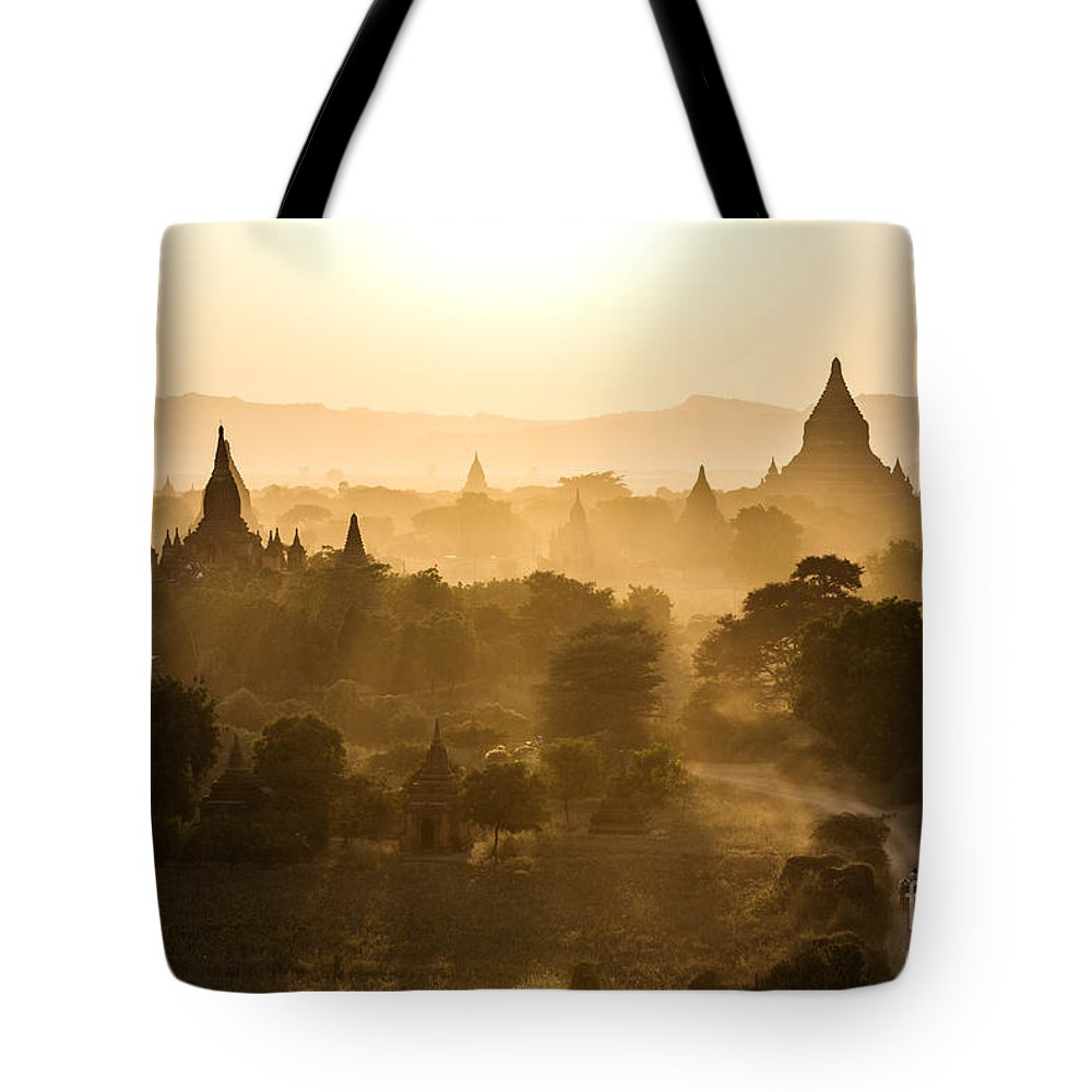 Bagan Tote Bag featuring the photograph Sunset Over Bagan - Myanmar by Matteo Colombo