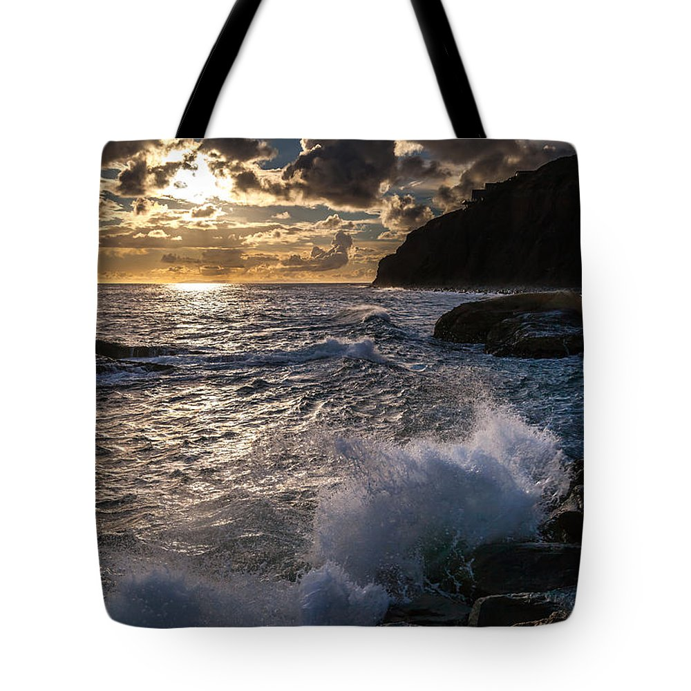Dana Point Tote Bag featuring the photograph Sunset Waves by Rick Seymour
