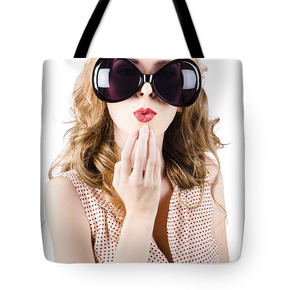 Adult Tote Bag featuring the photograph Surprised Beautiful Pin-up Girl. White Background by Jorgo Photography - Wall Art Gallery