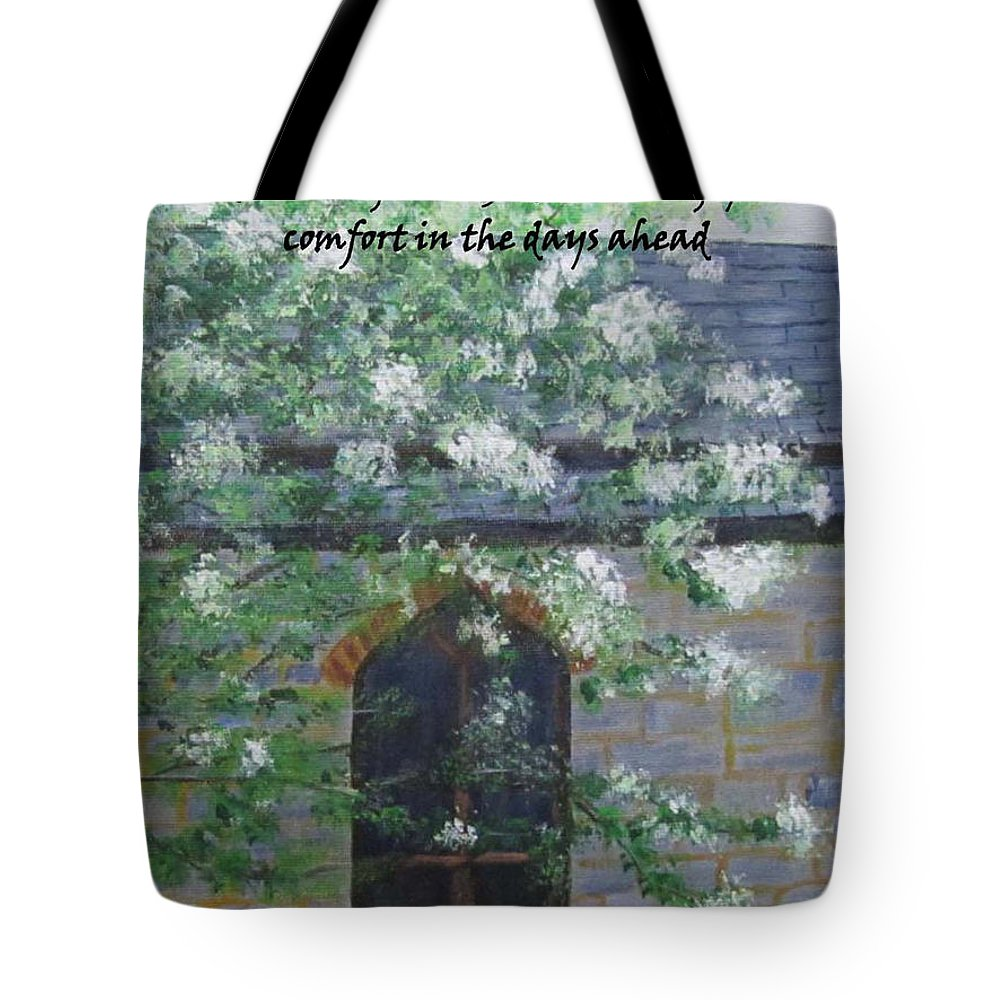 Sympathy Card Tote Bag featuring the painting Sympathy Card With Church by Linda Feinberg