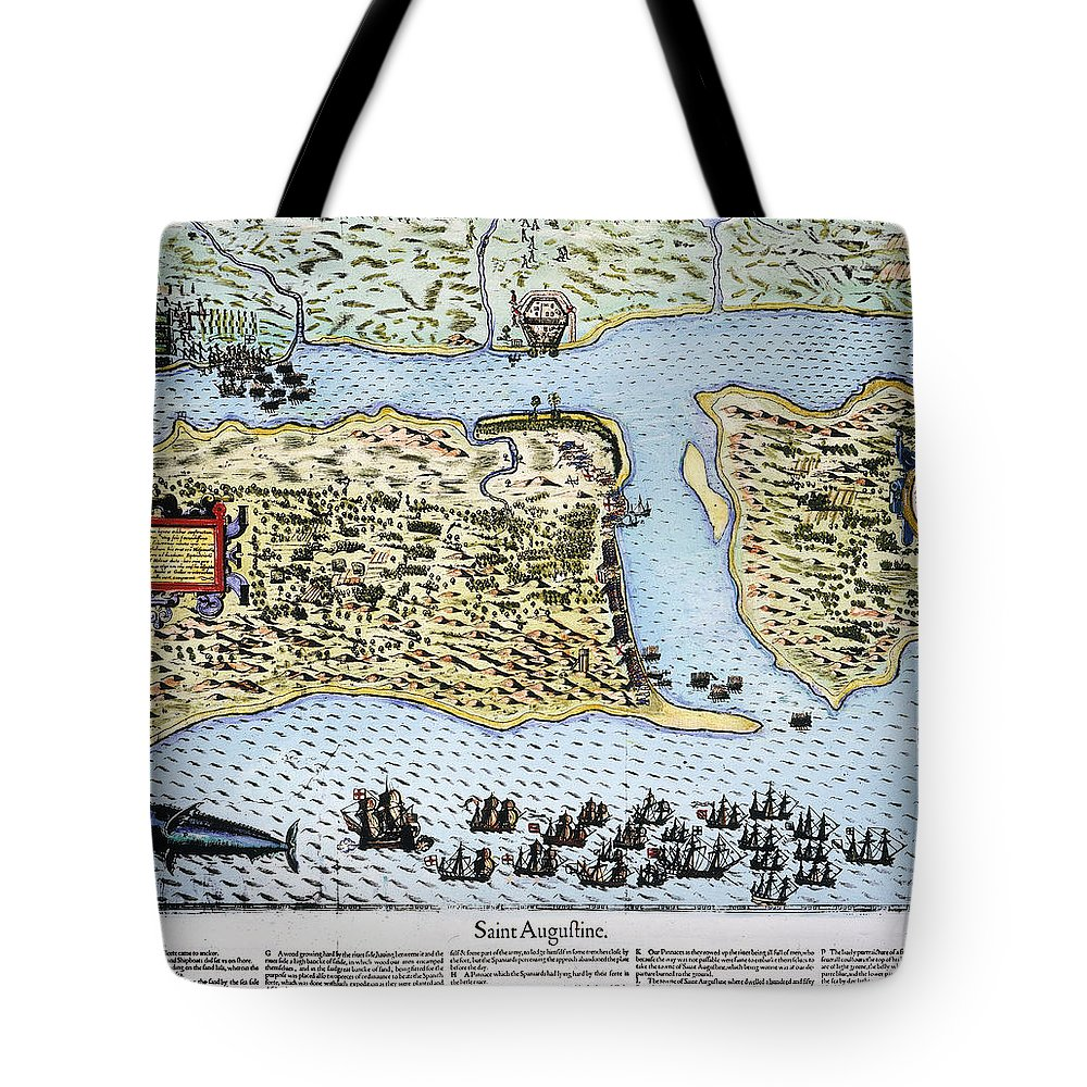 1586 Tote Bag featuring the photograph Taking Of St. Augustine by Granger